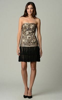 Sue Wong Gatsby Flapper Embroidered Fringe Strapless Drop Waist Dress NWT Sz 12 Strapless Drop