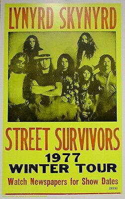 "Lynyrd Skynyrd Concert Poster - 1977 Street Survivors Winter Tour - 14""x22"""