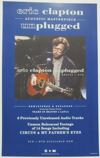 ERIC CLAPTON 2013 UNPLUGGED reissue promotional poster Flawless New Old Stock