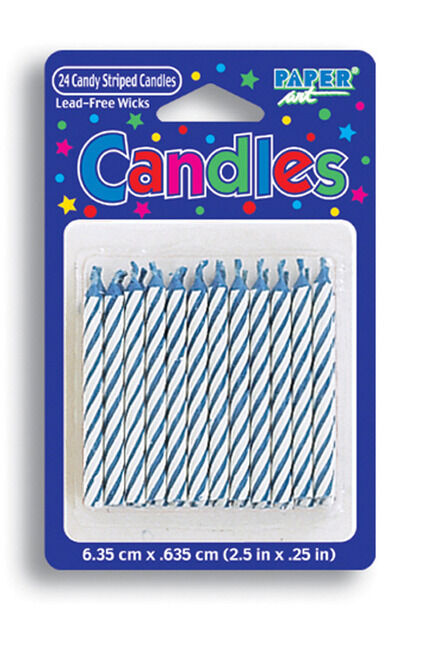 Blue and White Striped Birthday Candles (24) - Party Supplies