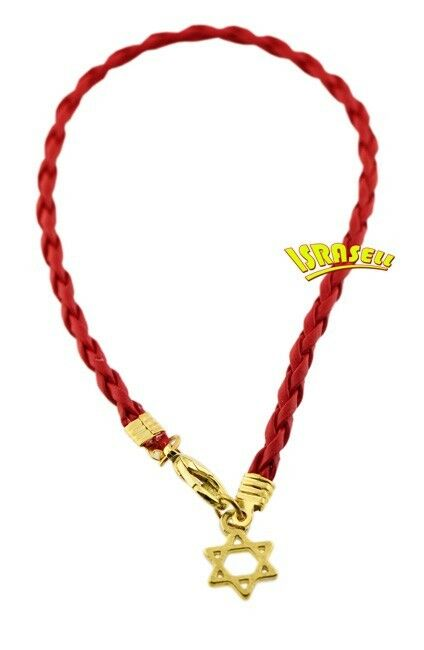 RED STRING BRAIDED BRACELET WITH STAR OF DAVID PENDANT - Kabbalah - Gold Plated