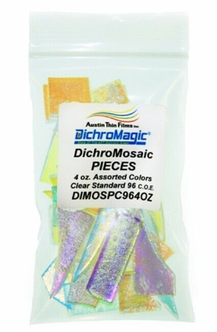 DichroMagic 4oz DichroMosaic Dichroic Clear Mosaic Glass Pieces Coe 96