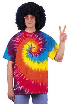 Halloween Costumes Shirt And Tie (Tie Dye T-Shirt 60's Hippie Woodstock Halloween Adult Costume Accessory X)