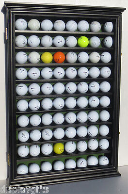80 Golf Ball Display Case Rack Wall Cabinet , UV Protection, Solid Wood, GB80-BL