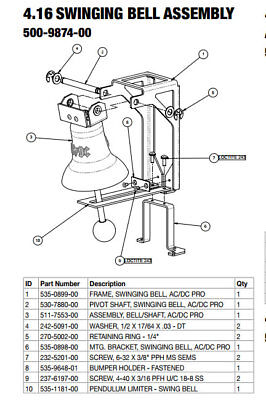 ACDC Stern Pinball Swinging Bell Assembly 500-9874-00