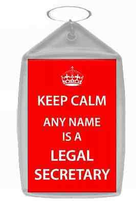 Legal Secretary Personalised Keep Calm Keyring