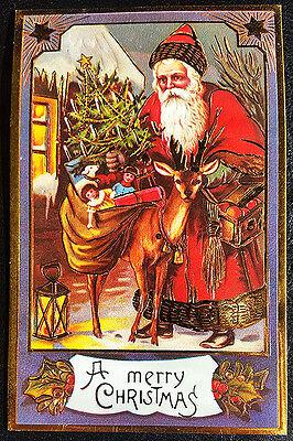 Paper Bag Reindeer (VINTAGE CHRISTMAS POSTCARD Victorian Santa w/ Toy Bag & Reindeer MINT)