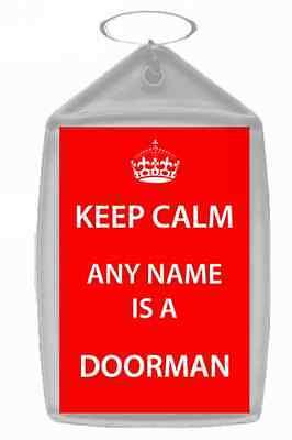 Doorman Personalised Keep Calm Keyring