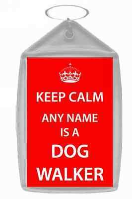 Dog Walker Personalised Keep Calm Keyring