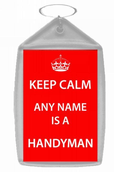 Handyman Personalised Keep Calm Keyring