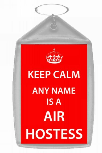 Air Hostess Personalised Keep Calm Keyring