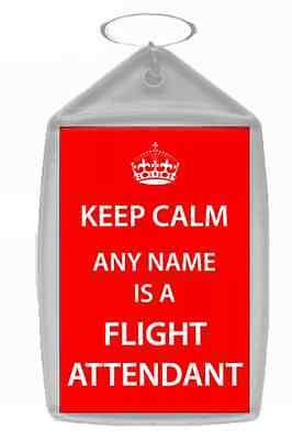 Flight Attendant Personalised Keep Calm Keyring
