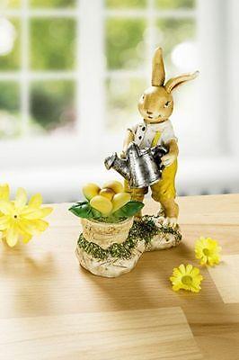 niedlicher Hase, Osterhase mit LED Blume, Flackerlicht, 15cm, neu