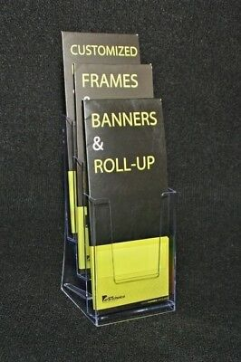 3-pocket Brochure Holder For Pamphlet Magazine Or Catalog Display