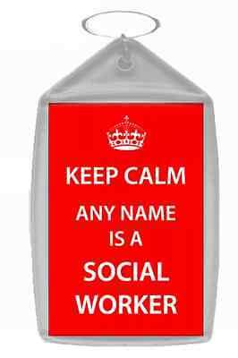 Social Worker Personalised Keep Calm Keyring