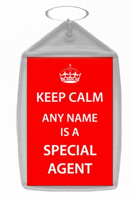 Special Agent Personalised Keep Calm Keyring