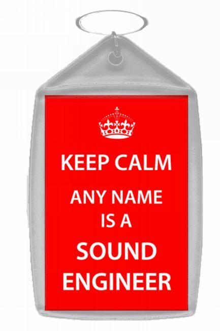Sound Engineer Personalised Keep Calm Keyring