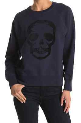 Zadig & Voltaire Womens Skull Print Pullover Sweater Small Navy Black