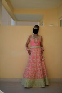 Beautiful Pink & Mint Green Indian Lengha