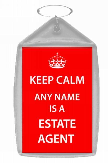 Estate Agent Personalised Keep Calm Keyring