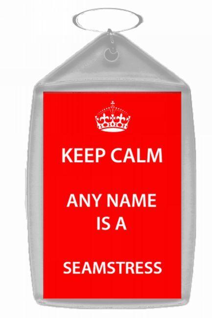 Seamstress Personalised Keep Calm Keyring