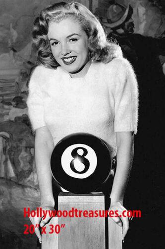 Marilyn Monroe~Playing Pool~8 Ball~Billiards~Shooting Pool~Poster~Photo~20x30