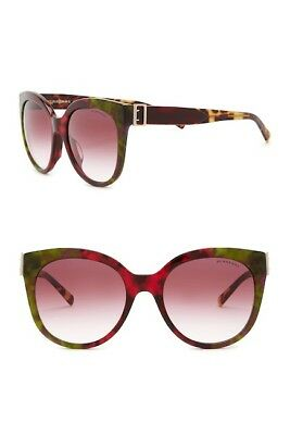 🍀Burberry The Buckle Collection Round Sunglasses Green Havana/Gold/Red (Burberry The Buckle)