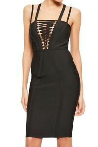 Missguided Lace-Up Bandage Body-Con Dress