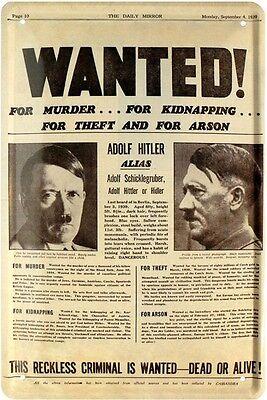 Wanted Mörder Hitler Daily Mirror 4.09.1939 Blechschild 20 x 30 Retro Blech 1723