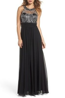 Eliza J NWT Stunning Dress BLACK/SILVER lace bodice and beaded halter neck Gown