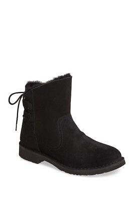 WOMENS UGG AUSTRALIA Boots Uggs Naiyah Genuine Shearling Lace Black Boot 7 M