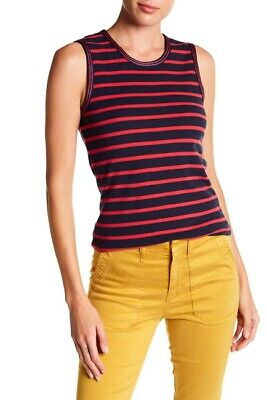 NWT J.Crew Striped Metallic Trim Tank Top Red/Navy Blue Size Small S F8815 Metallic Trim Tank