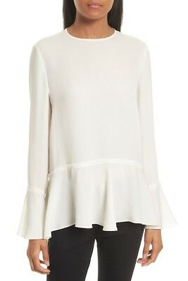 Theory Lexanda Bell Sleeve Peplum Blouse in Ivory - Size M #T655 for sale  USA