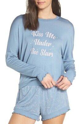 Honeydew Intimates 2pc Wonder Love Pajama Short Set Blue/ Light Pink M
