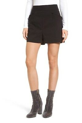 Womens Leith Pleat Trim High Waist Shorts Black Size 4 New Nordstrom Rayon 3599 for sale  Shipping to India