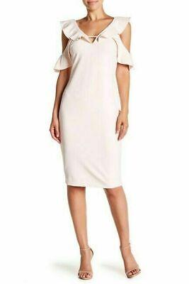 $241 Rachel Roy Womens Pink Ruffled Cold Shoulder V-Neckline Sheath Dress Size 2