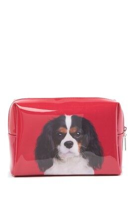 New Catseye London Cavalier King Charles Spaniel Dog Print Red Large Beauty Bag - Catseye Bags