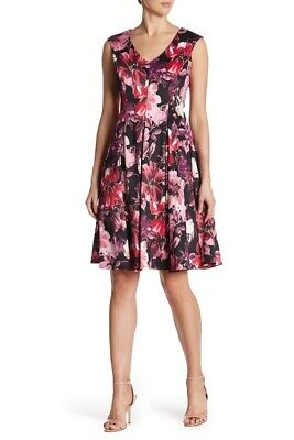 Gabby Skye Womens Floral Print Sleeveless Fit & Flare Dress Size 4, 6, 8, 10, 12](Dresses Size 10 12)