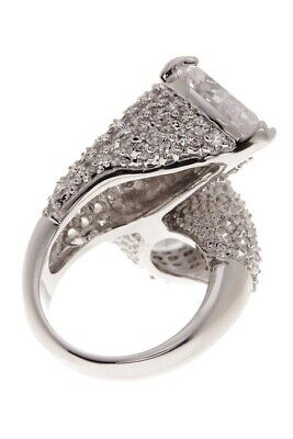 CZ By Kenneth Jay Lane Round CZ Bypass Statement Ring Size 7 NEW