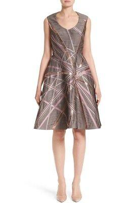 NEW RUBIN SINGER Jacquard Fit & Flare Dress Grey Multi WOMEN SIZE 14 $1895