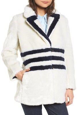 J.CREW Yuna Teddy Faux Fur Jacket White Blue Striped Regular size L Style H2298 ()