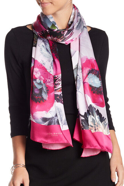 Nwt Ted Baker London Neon Poppy Long Silk Scarf Nude Pink