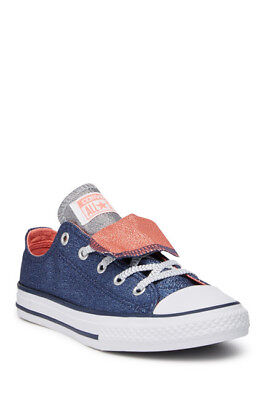 Converse Youth CTAS Double Tongue OX Shoes  NEW AUTHENTIC Navy 658112F Double Tongue Ox Shoes