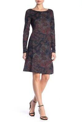 Premise Studio Boatneck Long Sleeve Print Dress size M 87$