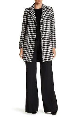 NWT DKNY Ladies size 12 Notch Collar Plaid Reefer Black White Plaid Wool Coat (Notch Collar Wool Coat)