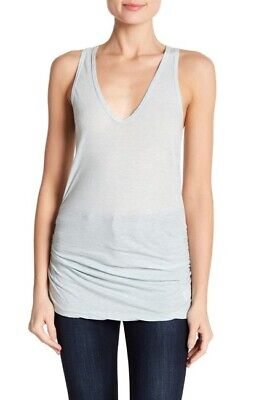 JAMES PERSE Skinny Fit Ruched Cotton Tank In Light Blue Size 1 Small WIN3469