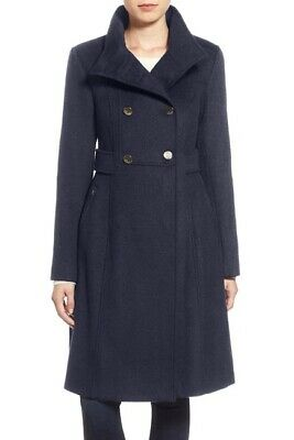 Eliza J Women's Navy Wool Blend Long Military Coat Size (Wool Blend Long Military Coat Eliza J)
