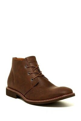 $120 Guess Brown Leather Chukka Ankle Boots Mens Size12 gmjoeys One Lace (Mens Guess Boots)