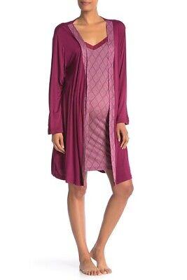 Lamaze Maternity Intimates Maternity/Nursing Lace Robe Raspberry Size Large L