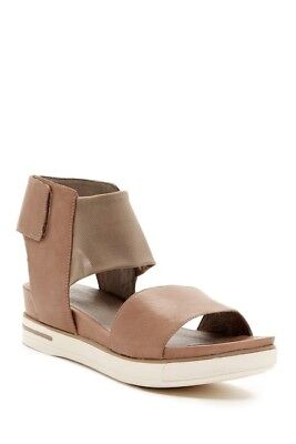 Stretch Soft Footbed - EILEEN FISHER Spree Sport Quartz Tan Leather Stretch Mesh Ankle Strap Sandal 10